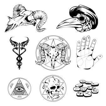 Skizzensatz von esoterischen symbolen und okkulten attributen