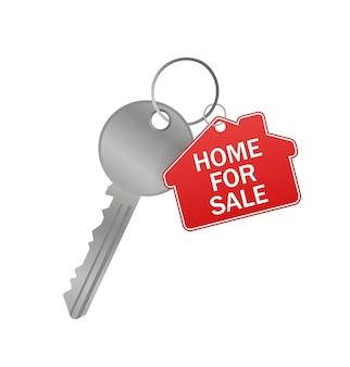 Skizzensymbol mit rotem haus zum verkauf schlüssel auf weißem hintergrund für konzeptdesign. haus zu verkaufen schlüssel.