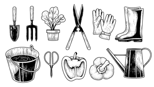 Skizzenvektorsatz von gartengeräten hand gezeichnete elementeillustration