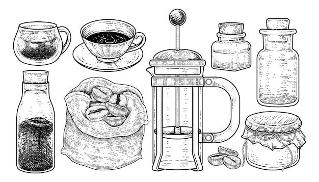 Skizzenvektorsatz von kaffeemaschinenwerkzeugen hand gezeichnete elementeillustration