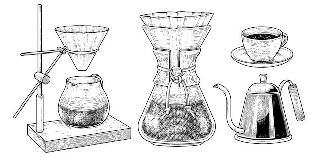 Skizzenvektorsatz von kaffeemaschinenwerkzeugen hand gezeichnete elementillustrationen