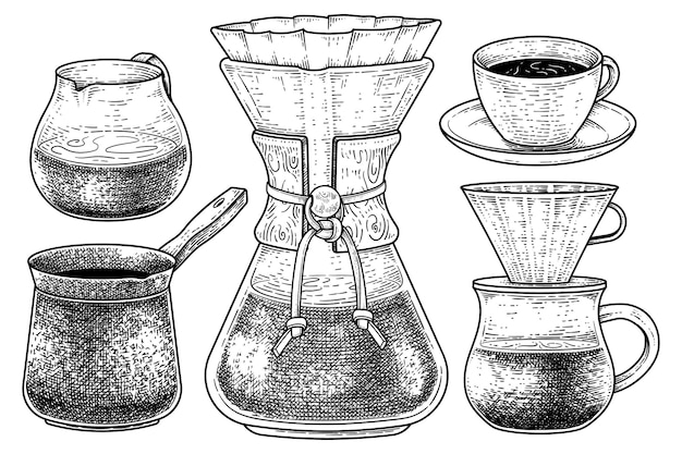 Skizzenvektorsatz von kaffeemaschinenwerkzeugenhand gezeichnete illustration