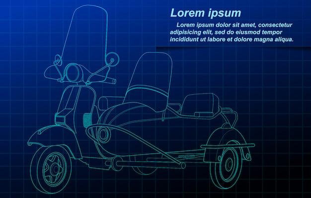 Skizzieren des fahrzeugs auf planhintergrund.