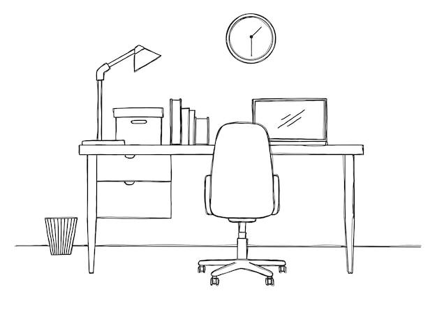 Skizzieren sie den arbeitsplatz vor dem computer. illustration