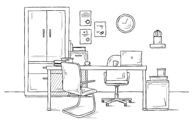 Skizzieren sie den raum. bürostuhl, schreibtisch, verschiedene gegenstände auf dem tisch. arbeitsbereich skizzieren. illustration