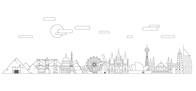 Skizzieren sie die skyline der sehenswürdigkeiten