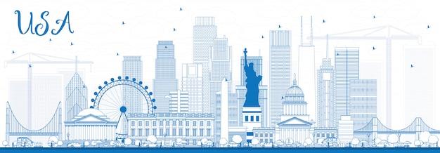 Skizzieren sie die skyline der usa mit blauen wolkenkratzern und sehenswürdigkeiten.