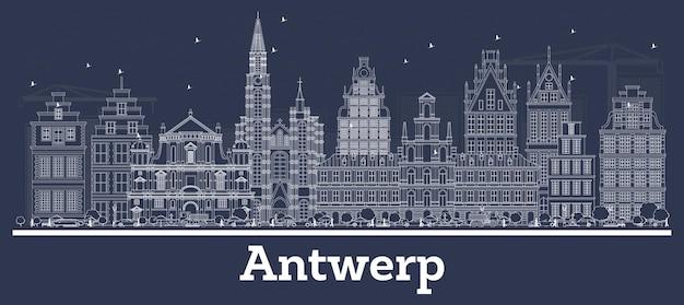 Skizzieren sie die skyline von antwerpen in belgien mit weißen gebäuden