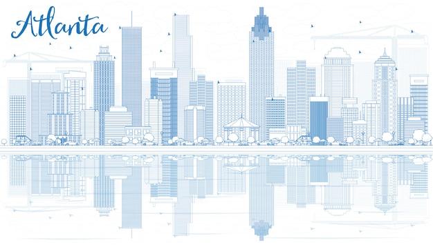 Skizzieren sie die skyline von atlanta mit blauen gebäuden und reflexionen.