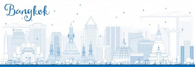 Skizzieren sie die skyline von bangkok mit blauen sehenswürdigkeiten.