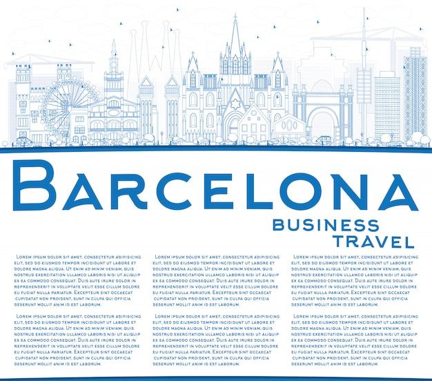 Skizzieren sie die skyline von barcelona mit blauen gebäuden und kopierflächen.