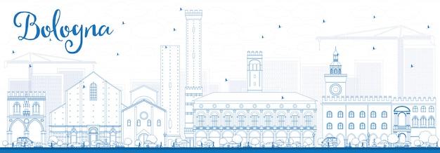 Skizzieren sie die skyline von bologna mit blauen sehenswürdigkeiten.
