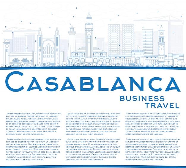 Skizzieren sie die skyline von casablanca mit blauen gebäuden und kopierfläche.