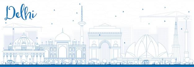 Skizzieren sie die skyline von delhi mit blauen gebäuden.