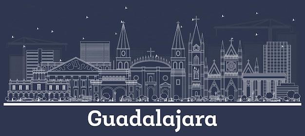 Skizzieren sie die skyline von guadalajara in mexiko-stadt mit weißen gebäuden