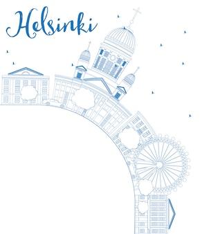 Skizzieren sie die skyline von helsinki mit blauen gebäuden und kopieren sie platz.