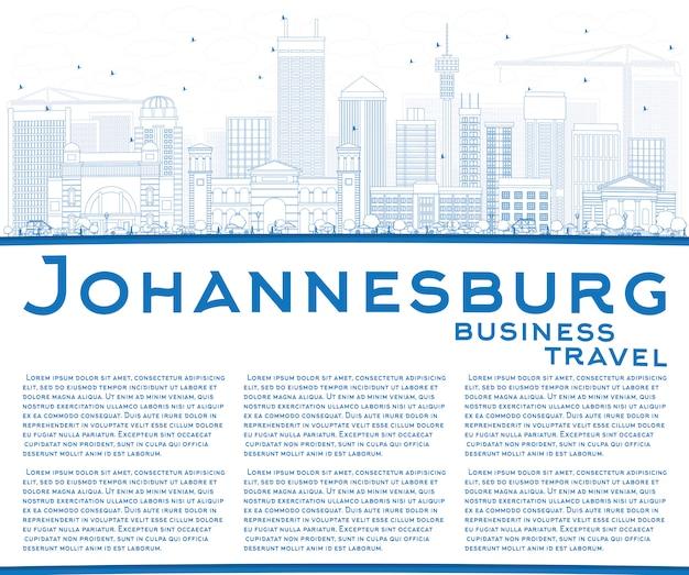 Skizzieren sie die skyline von johannesburg mit blauen gebäuden und kopierflächen.