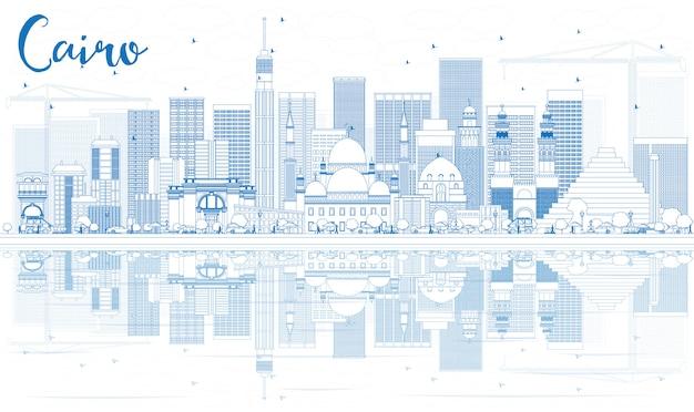Skizzieren sie die skyline von kairo mit blauen gebäuden und reflexionen.