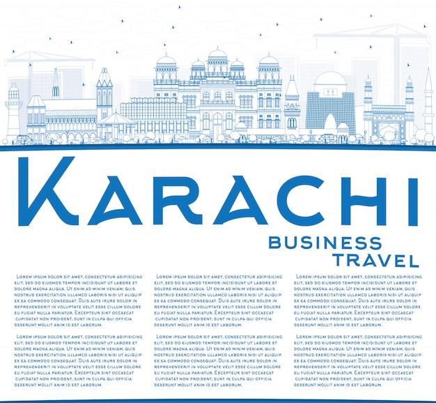Skizzieren sie die skyline von karachi mit blauen orientierungspunkten und kopierfläche.