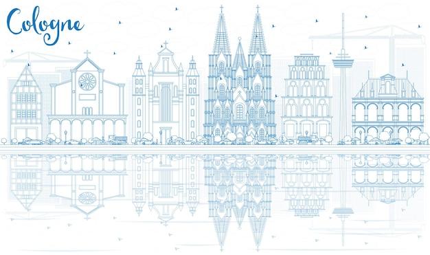 Skizzieren sie die skyline von köln mit blauen gebäuden und reflexionen.