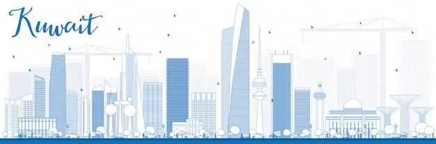 Skizzieren sie die skyline von kuwait-stadt mit blauen gebäuden.