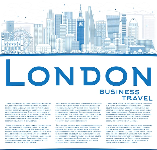 Skizzieren sie die skyline von london mit blauen gebäuden und kopierflächen. geschäftsreise- und tourismuskonzept mit modernen gebäuden
