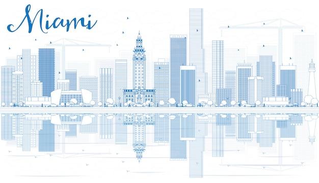 Skizzieren sie die skyline von miami mit blauen gebäuden und reflexionen.