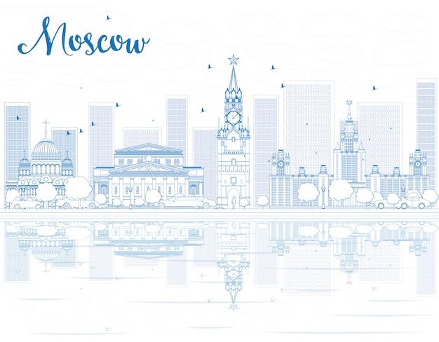 Skizzieren sie die skyline von moskau mit blauen sehenswürdigkeiten.