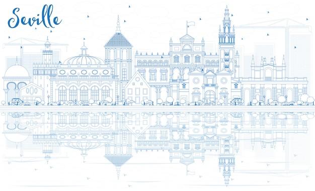 Skizzieren sie die skyline von sevilla mit blauen gebäuden und reflexionen.