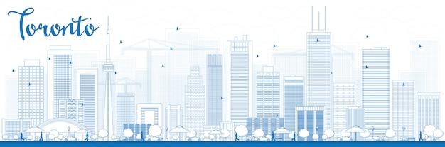 Skizzieren sie die skyline von toronto mit blauen gebäuden