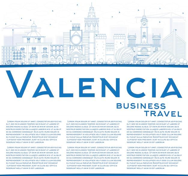 Skizzieren sie die skyline von valencia mit blauen gebäuden und kopierfläche.