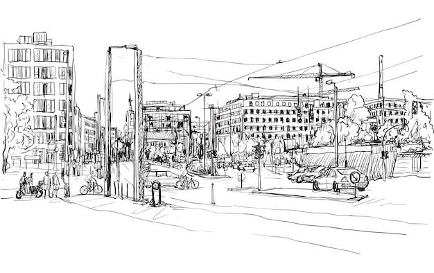 Skizzieren sie die stadtlandschaft der berliner straße mit dem gebäude und den menschen, die entlang der straße gehen