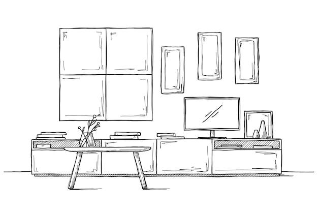 Skizzieren sie die wand unter dem fernseher. illustration
