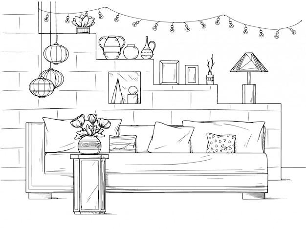 Skizzieren sie ein gemütliches wohnzimmer im boho-stil. sofa, tisch und verschiedene dekorelemente. illustration