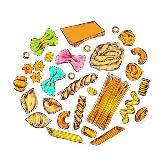 Skizzieren sie eine runde pastakomposition mit verschiedenen nahrungsmitteln und verschiedenen arten von makkaroni in dekorativen symbolen