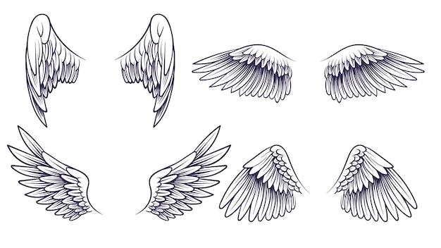 Skizzieren sie engelsflügel. handgezeichnete verschiedene flügel mit federn. schwarze vogelflügel-silhouette für logo, tätowierung oder marke, isolierte vintage-vektor-set