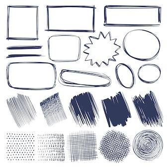 Skizzieren sie formen. handgezeichnete monochrome geometrische elemente rahmen, striche und schatten, schraffierte runde und quadratische formen oder linie isolierter schraffurvektorsatz