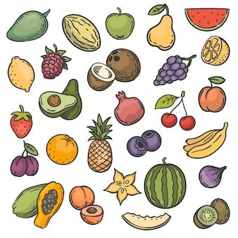 Skizzieren sie früchte. handgezeichnete farbe früchte apfel, orange und zitrone, banane und kiwi, kirsche und beeren veganes naturkost-doodle-vektorset. apfel- und bananen-, ananas- und orangenskizzenillustration