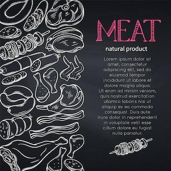Skizzieren sie gastronomisches fleisch