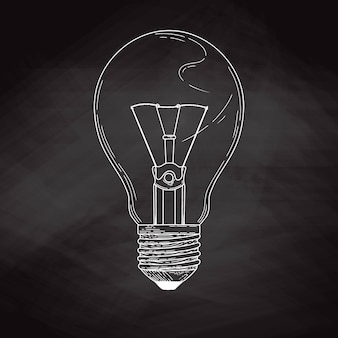 Skizzieren sie glühbirne lokalisiert auf einer tafel. illustration