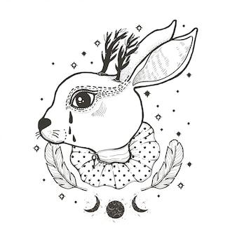Skizzieren sie grafische illustration zirkus-kaninchen mit mystischen und okkulten hand gezeichneten symbolen