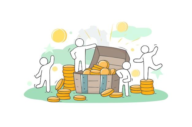 Skizzieren sie illustration mit kleinen leuten und münzen. kritzeln sie niedliches finanzobjekt. hand gezeichneter karikaturvektor für geschäftsentwurf.