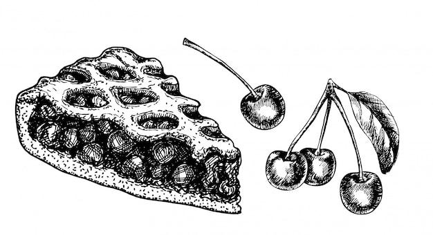 Skizzieren sie isoliertes stück kirschkuchen. hand gezeichnete illustration nach hause backen auf weißem hintergrund. beerenkuchen.