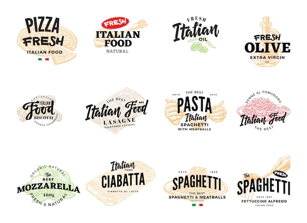 Skizzieren sie italienische food logotypes collection