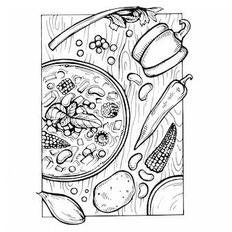Skizzieren sie italienische minestrone-suppe und zutaten auf dem tisch.