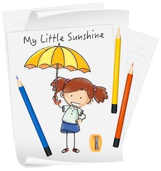 Skizzieren sie kleine kinder-cartoon-figur auf papier isoliert