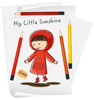 Skizzieren sie kleine kinderkarikaturfigur auf papier lokalisiert