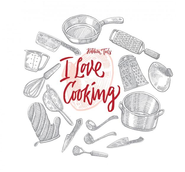 Skizzieren sie küchen-utensilien-rundes konzept