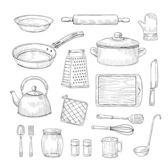 Skizzieren sie küchenwerkzeuge. handgezeichnete küchenutensilien der kochutensilien.
