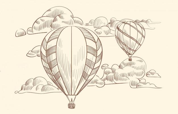 Skizzieren sie luftballon in wolken. flugreise durch luftballons mit korb im bewölkten himmel.